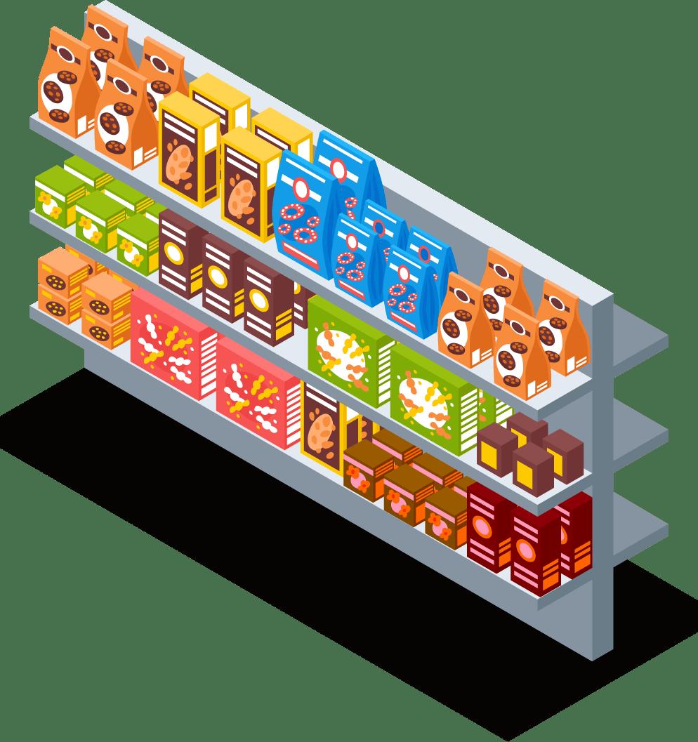 米・麺類コーナー